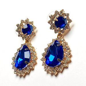 New! Blue Crystal Rhinestones Statement Earrings